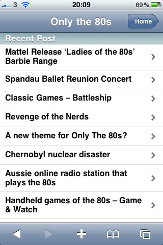 Only The 80s Home Page on iPhone